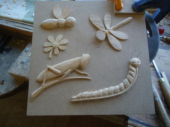 Wooden insects carved in wood