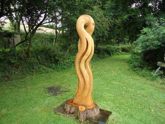 A large wooden outdoor carving